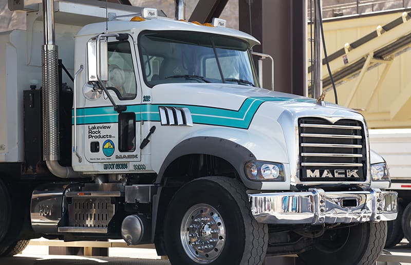 A Mack truck waits for a load at Lakeview Rock Products in Salt Lake City, Utah. (Photo courtesy of Lakeview Rock Products)